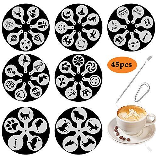 ino Kaffee Schablonen Stencils in 7 Motive - Völlig Verschieden! Valentinstag/Ostern/Halloween/Weihnachten/Hunde/Katze/Grüße Worte - Schaum Latte Art Barista Dekoration Vorlage ()