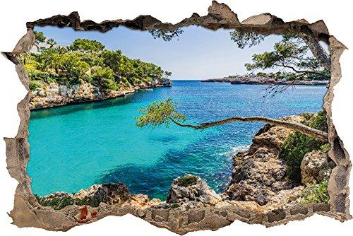 Idyllische Ansicht des Mittelmeers am Mallorca Bay Cove Wanddurchbruch im 3D-Look, Wand- oder Türaufkleber Format: 92x62cm, Wandsticker, Wandtattoo, Wanddekoration