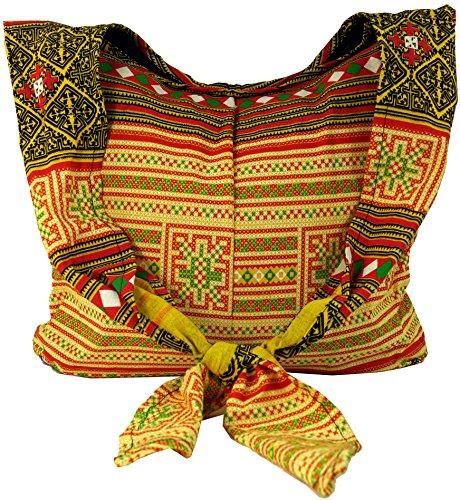Borsa Sadhu Guru-shop, Tracolla, Borsa Hippie - Rosso, Uomo / Donna, Cotone, 30x42 Cm, Borsa In Tessuto Colorato Giallo