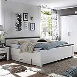 Pharao24 Bett mit Schubladen Pinie Weiß Breite 195 cm Liegefläche 180x200 Bettkasten Ja
