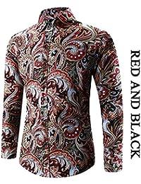 Ropa Pulsador De Manga Camisa Hombre De Larga Modernas Casual Moda Vintage  con Estampado Blusa Slim 386046bcc923b