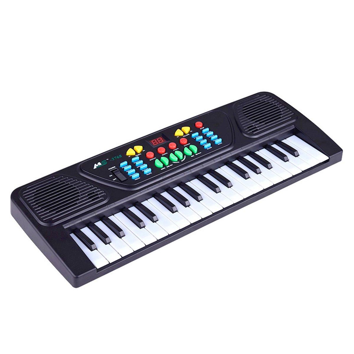 Tastiera Elettronica per Bambini TOYMYTOY Pianoforte per bambini 37 Tasti Con Microfono (Nero)