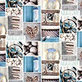 Fabulous Fabrics Baumwollköper Digitalprint Marine - blau