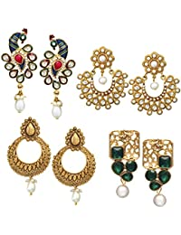 Zaveri Pearls Combo of 4 Ethnic Earrings - ZPFK6028