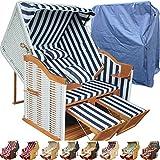 Strandkorb XXL für Balkon blau gestreift inkl. Luxus Strandkorb Schutzhülle - blau gestreift mit weißem Polyrattan und braunem Holz