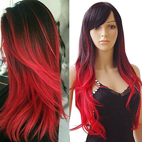 70cm parrucca nera/rossa lunga donna capelli ombre ondulati ricci sintetici resistente al calore parrucche women wig per carnevale party festa cosplay halloween