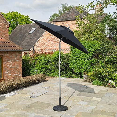 Kingfisher Parasol en aluminium noir de 2 m avec mécanisme d'inclinaison
