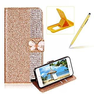 Diamond Wallet Leather Case for iPhone 6S,Flip Cover for iPhone 6,Herzzer Premium Luxury Butterfly Buckle Magnetic Closure Gold Glitter Stand Case with Inner Soft Rubber Protective Case
