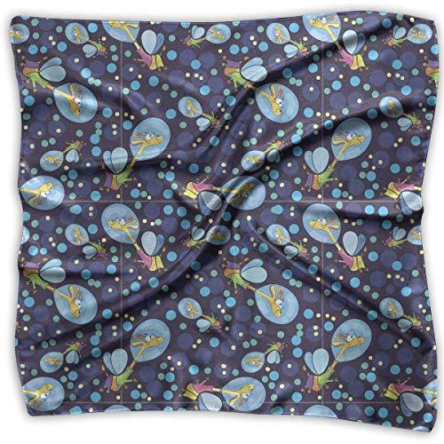 Women Lady Funny Cartoon Giraffe Print Square Kerchief Scarf Head Wrap Neck Satin Shawl (Hobo Giraffe)