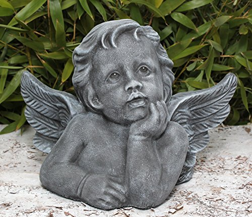 Steinfigur Engel groß - Schiefergrau, Figur Deko Grabschmuck Garten Putte