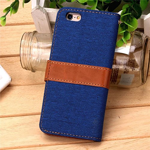 iPhone Case Cover Cowboy Jeans Cotton Muster-Fall Freizeit Mode PU-Leder-Kasten-Mappen-Standplatz-Fall-Abdeckung für IPhone 6S 4,7 Zoll ( Color : Rose , Size : IPhone 6s ) Blue