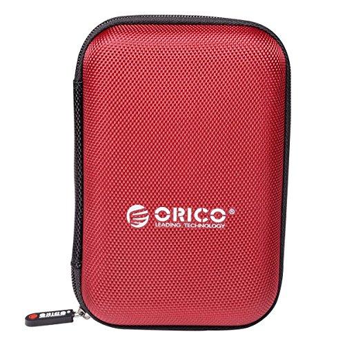 ORICO Festplattentasche Schutztasche Schutzbox für 2,5 Zoll externe tragbare Festplatten Western Digital WD Seagate Toshiba Samsung Intenso (2.5, Rot)