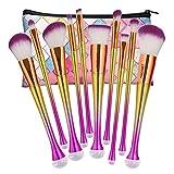 NEEDOON 10 Stücke Makeup Pinsel Set Pulver Foundation Eyeliner Augenpinsel Lidschatten Gesichtspinsel Blush Pinsel mit Kosmetik Tasche,C