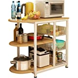 Kitchen Storage Shelf Rack Microwave Oven Stand Shelves Shelving Unit 3 Tier with 3 Baskets Sturdy Construction for Utensils
