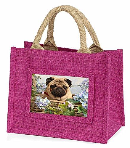 Advanta–Mini Pink Jute Tasche Fawn Mops Hund in ein Korb Little Mädchen klein Einkaufstasche Weihnachten Geschenk, Jute, pink, 25,5x 21x 2cm