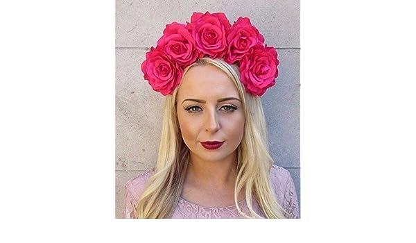 Large Hot Pink Rose Sugar Skull Flower Headband Halloween Mexican Crown Big 4002