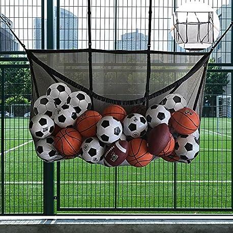 Flower205 Bolsa de almacenamiento para piscina bolsa de malla con gancho bolsa de almacenamiento para baloncesto de f tbol b