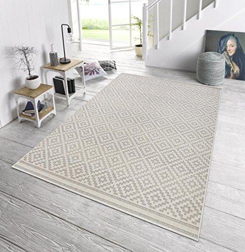 In- & Outdoor Design Teppich Terrasse Wintergarten 160 x 230 cm Raute Grau Creme OD-4