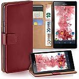 Sony Xperia Z Hülle Rot mit Kartenfach [OneFlow Wallet Cover] Handytasche Flip-Case Handyhülle Etui Kunst-Leder Tasche für Sony Xperia Z Case Book Schutzhülle