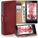 moex Sony Xperia Z | Hülle Dunkel-Rot mit Karten-Fach 360° Book Klapp-Hülle Handytasche Kunst-Leder Handyhülle für Sony Xperia Z Case Flip Cover Schutzhülle Tasche