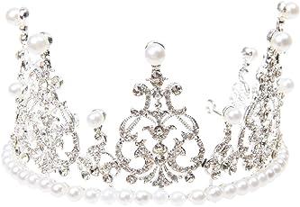Imported Bridal Crown Rhinestone Faux Pearl Wedding Princess Prom Tiara Silver