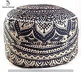 GANESHAM HANDICRAFTS indischen Mandala Tapisserie Bohemian Pouf osmanischen handgefertigt Pouf, Pouf Boden Kissenbezug aus Baumwolle Wohnzimmer Decor Boho dekorativ runden Fuß Hocker (nur Bezug)