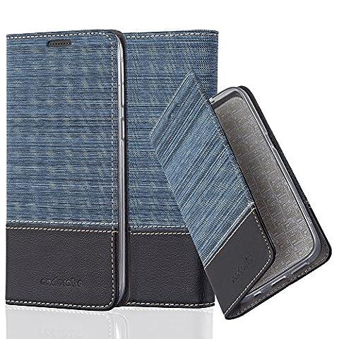 Cadorabo - Etui Housse pour HTC DESIRE 820 - Coque Case Cover Bumper Portefeuille en Design Tissue-Similicuir avec Stand Horizontale, Fentes pour Cartes et Fermeture Magnétique Invisible en BLEU-FONCÉ-NOIR