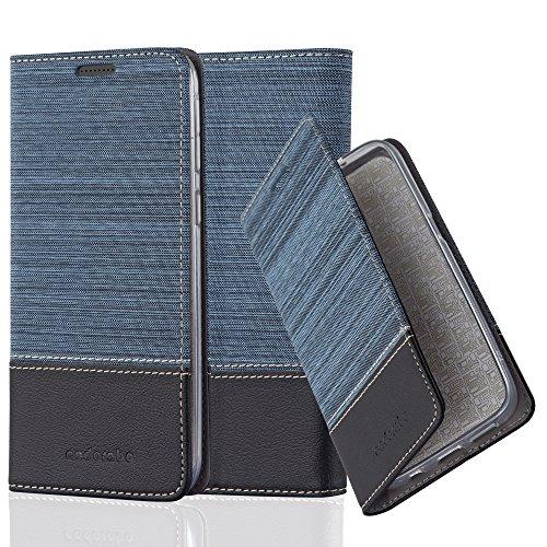 Cadorabo Hülle für HTC Desire 820 - Hülle in DUNKEL BLAU SCHWARZ – Handyhülle mit Standfunktion und Kartenfach im Stoff Design - Case Cover Schutzhülle Etui Tasche Book