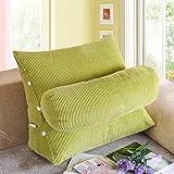 Cuscino per divani in cotone Cuscino per divani in cotone triangolo Grande schienale per ufficio in tinta unita, 50x60cm, colore verde scuro