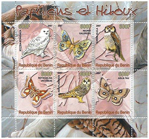 Eulen und Schmetterlinge Art Briefmarkenbogen für Sammler / 2007 / Benin -