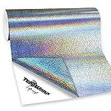 TECKWRAP Vinyle de métier adhésif olographe étincelant d'argent, 1ftx5ft
