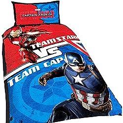 Marvel para niños/niños oficial Capitán América Guerra Civil Reversible funda de edredón juego de cama, algodón, Multicolor, suelto