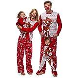 Pijamas de Navidad Familia, Ropa de Noche Homewear Algodón Camisas de Manga Larga + Pantalones Largos Sudadera Invierno Conju