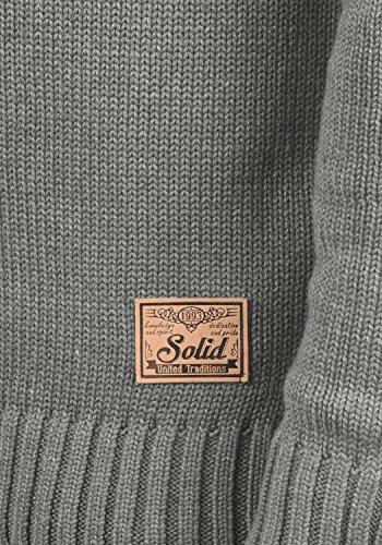 SOLID Petro Herren Strickpullover Grobstrick Pulli Troyer mit Stehkragen aus hochwertiger Baumwollmischung Grey Melange (8236)