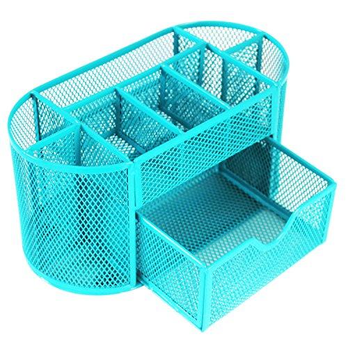 Cailorlife Tisch Mesh Organiser Büro/Schule Schreibtisch-Organizer Schreibwaren Behälter Metall-Bleistift-Becher Bleistifthalter (9 Gitter, Blau)