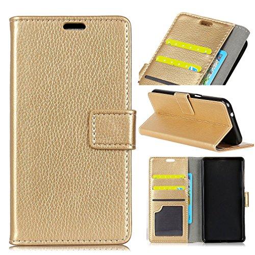 LMFULM® Hülle für Alcatel A50 PU Leder Magnetverschluss Brieftasche Lederhülle Handytasche Litchi Muster Stent-Funktion Ledertasche Flip Cover für Alcatel A50 Gold