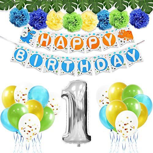 r Party Dekoration Set - Erster 1st Geburtstag Partybedarf für Jungen Enthalten Happy Birthday Banner, Latexballons, Papier Pom Poms, Farbbänder, künstliche Monstera Blätter 44PCS ()