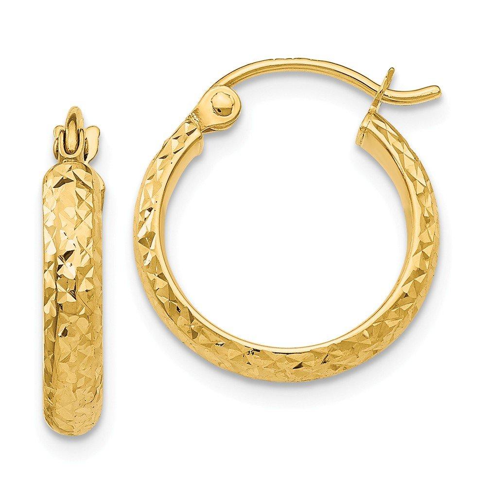 Diamond2Deal Women's 14k Yellow Gold Diamond cut Hoop Earrings for Women