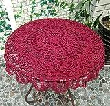 USTIDE 91,4cm Burgandy rund Handgefertigt Häkel-Tischdecke Ananas Tischdecke Design Hochzeiten Spitze Baumwolle Tischdecke