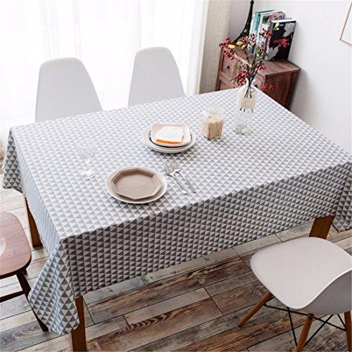 Hxc Home Gris Triangle géométrique Nappe en coton et lin scandinave minimaliste moderne Table de salle à manger rectangulaire Desk Table carrée Chiffon respectueux de l'environnement couvrant, Coton/lin, gris, 90*145cm