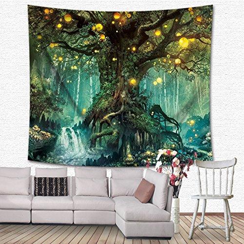 GuDoQi Tapisserie Dschungel Kreis Fantasy Malerei Tapisserie Wandteppich Wand Dekoration Home Decor Beach Blanket