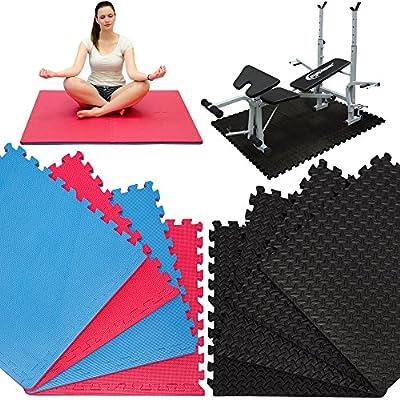 4 Bodenmatten mit 8 Abschlussleisten | beliebig erweiterbare Steckmatten | Fitness Yoga Judo Trainingsmatte Schutzmatten Bodenauflagen | extra dick 20mm | Schwarz Rot Blau
