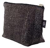 Grande borsa per il trucco, cosmetici, astuccio, custodia in lino naturale, frizione, tela pochette, lino, borsetta, borsa per cosmetici, trousse, frizione Black Linen