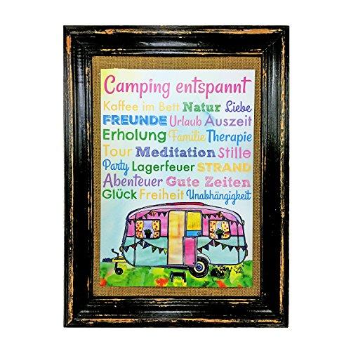 AnneSvea Camping entspannt. Wohnwagen Druck Poster A4 Bus Camper Caravan Geschenk Deko