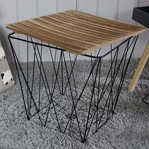 Melody Maison Black Metal Square Basket Wooden Top Table
