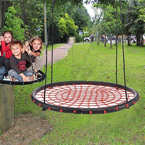 Qulista Garten - Nestschaukel Kinderschaukel Ø100cm groß für 2 Erwachsene, belastbar 200kg (Rot 2)