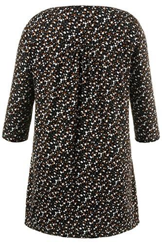 Ulla Popken Damen große Größen bis 62+ | V-Shirt mit Druck | 3/4-Ärmel, Saum verlängert | A-Line | 707545 Multicolor