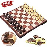 CRMICL Juego de ajedrez magnético de Viaje , Juego de ajedrez 2 en 1 Juego de ajedrez Plegable Juego de ajedrez de Grano de Madera imitación portátil Plegable de 12.2 '' x 12.2 ''