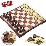 CRMICL Schachspiel &Damespiel Deluxe 2-in-1 Schach Dame mit Deluxe Magnetischem