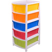 ALL WIN Plastic Free Standing Chest of 5 Drawers Plastic Free Standing Chest of Drawers (Multicolour)